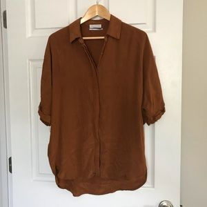 Urban Outfitters Brown Silk Button-Up Blouse M